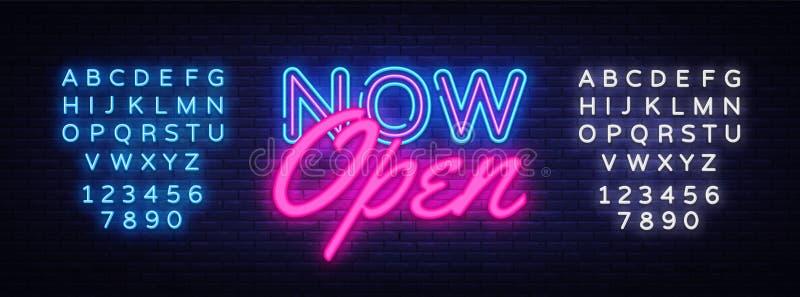 Molde de néon agora aberto do projeto do vetor do texto Logotipo de néon agora aberto, tendência colorida do projeto moderno do e ilustração do vetor