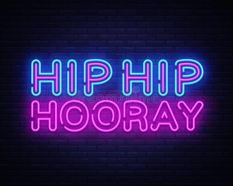 Molde de néon anca do projeto do vetor do texto do quadril Hooray Logotipo de néon anca do quadril Hooray, moderno colorido do el ilustração royalty free