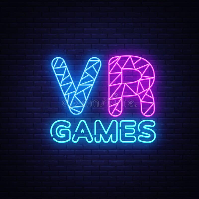Molde de néon do projeto do vetor do texto do Gamer de VR Logotipo de néon do jogo, tendência colorida do projeto moderno do elem ilustração do vetor