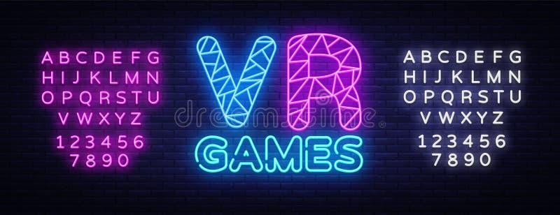 Molde de n?on do projeto do vetor do texto do Gamer de VR Logotipo de n?on do jogo, tend?ncia colorida do projeto moderno do elem ilustração royalty free