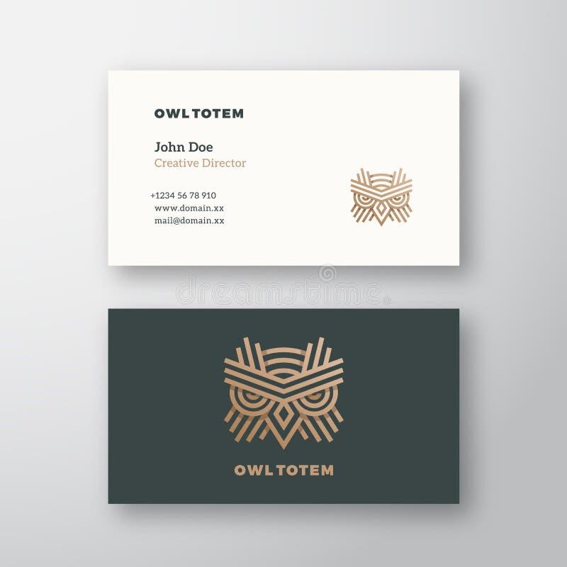 Molde de Owl Totem Abstract Vetora Logo e do cartão Zombaria realística estacionária superior acima ilustração stock