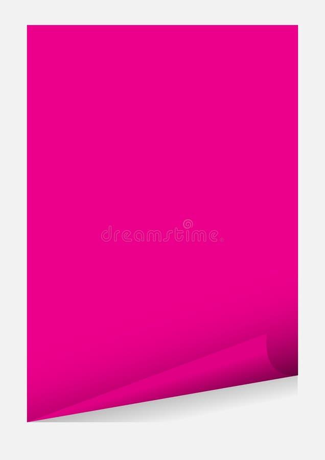 Molde de papel cor-de-rosa do canto da onda da placa a4 isolado no fundo cinzento, folha de papel da etiqueta o quadro do molde d ilustração do vetor