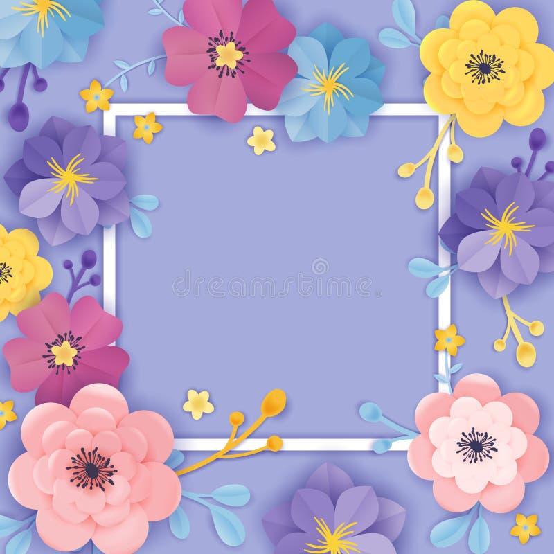 Molde de papel do cartão das flores cortadas Estilo floral do origâmi do quadro do fundo Projeto botânico do verão da mola para a ilustração do vetor
