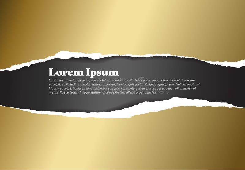 Molde de papel dourado rasgado vetor ilustração do vetor
