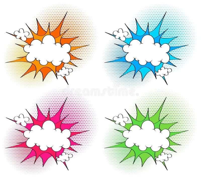 Molde de quatro nuvens com respingo diferente da cor nos fundos ilustração royalty free