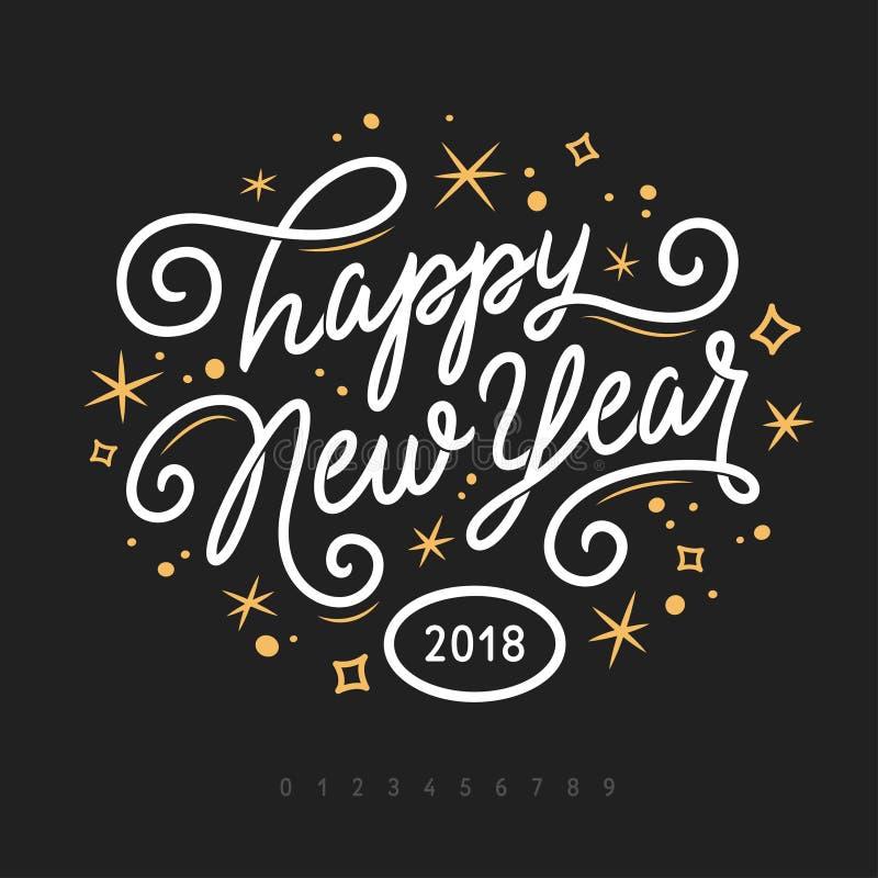 Molde de rotulação do ano novo feliz 2018 Cartão ou convite Ilustração do vintage do vetor ilustração royalty free