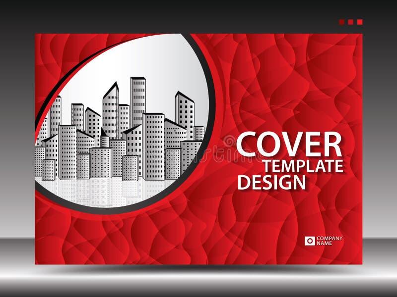 Molde de tampa vermelho para anunciar, indústria, Real Estate, casa, quadro de avisos, apresentação, inseto do folheto, tampa do  ilustração royalty free