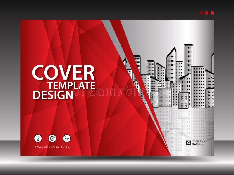 Molde de tampa vermelho para anunciar, indústria, Real Estate, casa, quadro de avisos, apresentação, inseto do folheto, tampa do  ilustração do vetor