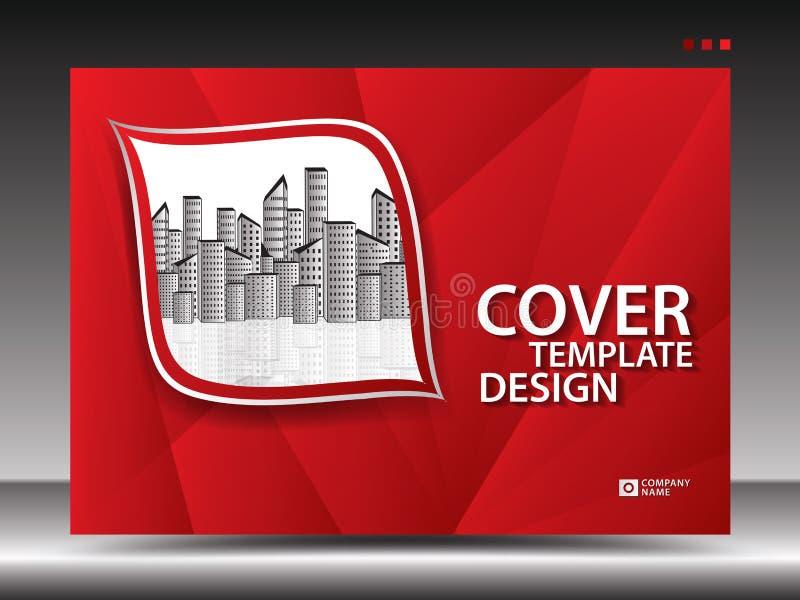 Molde de tampa vermelho para anunciar, indústria, Real Estate, casa, quadro de avisos, apresentação, inseto do folheto, tampa do  ilustração stock