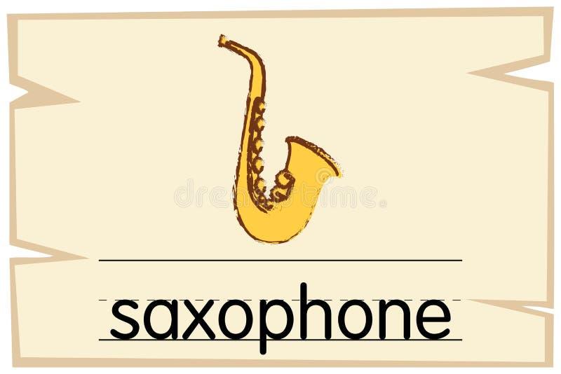 Molde de Wordcard para o saxofone da palavra ilustração royalty free