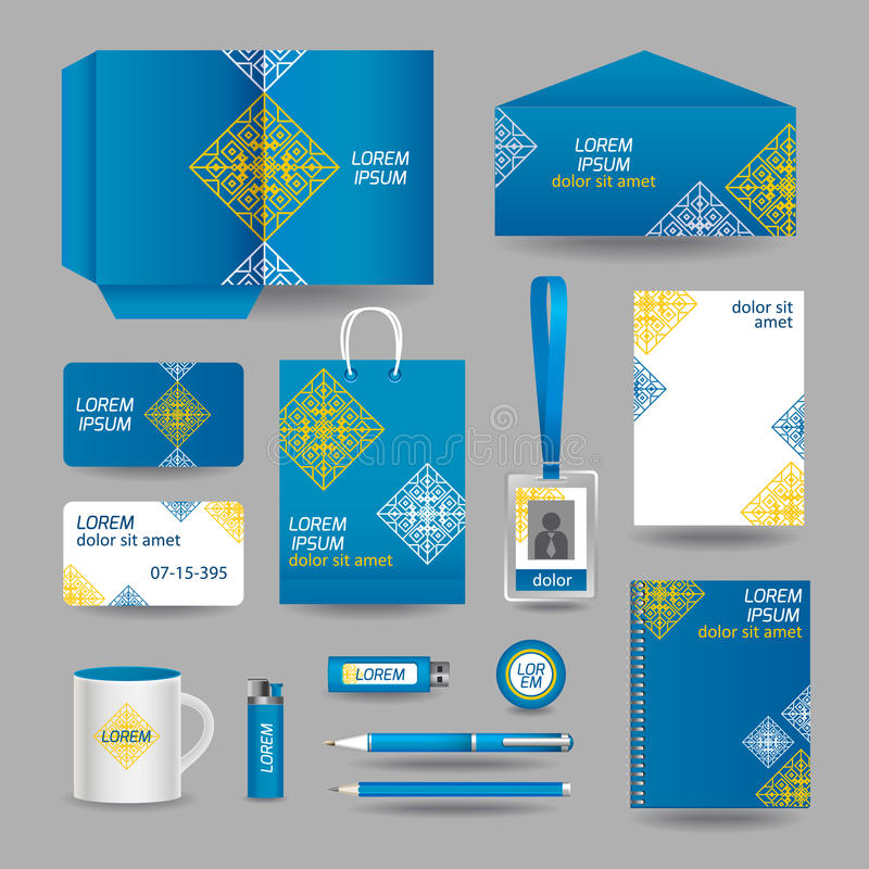 Molde decorativo azul dos artigos de papelaria do negócio ilustração stock