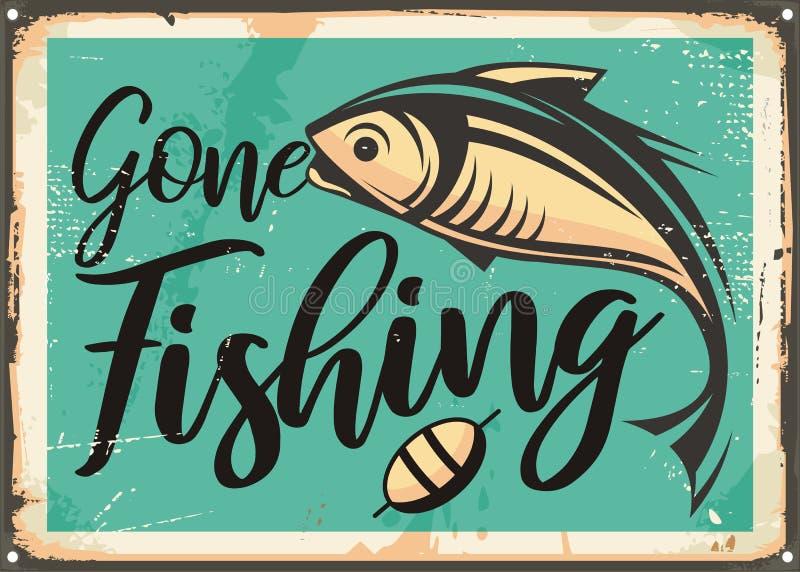 Molde decorativo de pesca ido do sinal do vintage ilustração do vetor