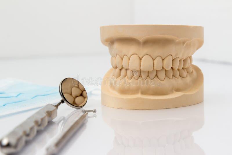 Molde dental con herramientas y una mascarilla fotos de archivo