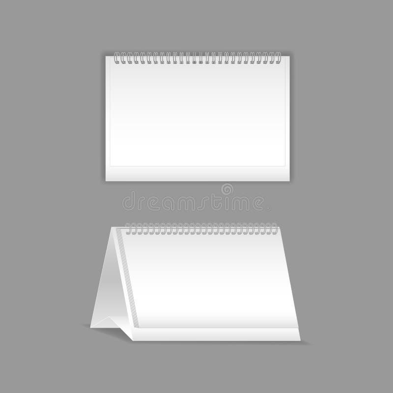 Molde, disposição, caderno realístico bonito Flipchart branco vazio com mola ilustração do vetor