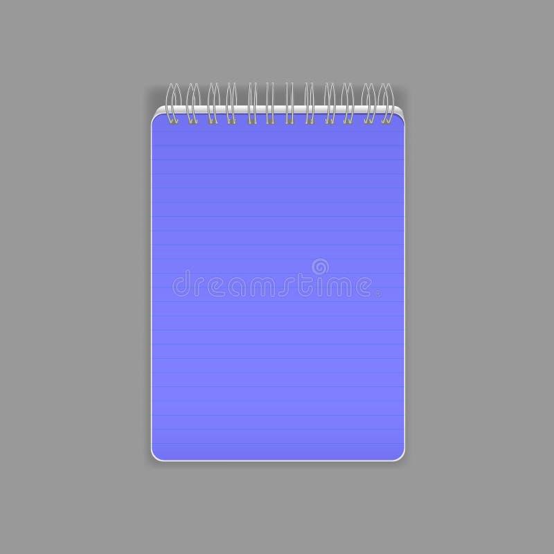 Molde, disposição, caderno realístico bonito Flipchart vazio com uma mola ilustração stock