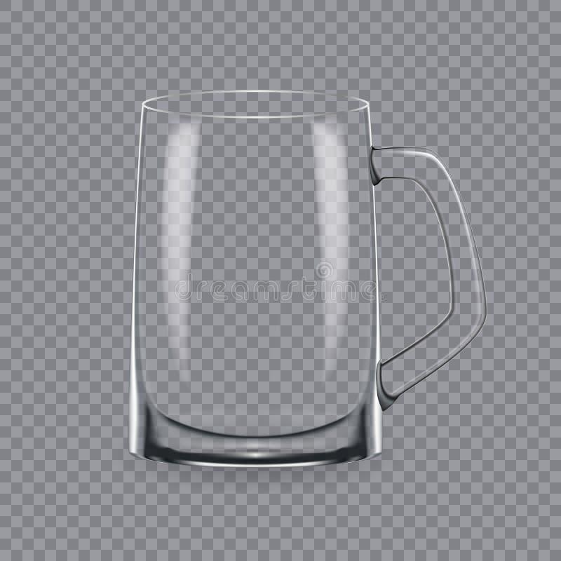 Molde, disposição, tábua de pão, vidro vazio, canecas, para a cerveja da bebida ilustração royalty free