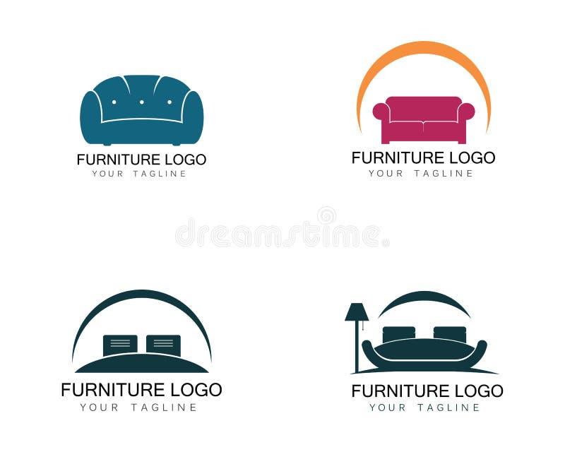 Molde do ícone do projeto do logotipo do sofá da mobília Vetor do design de interiores da decoração da casa ilustração royalty free