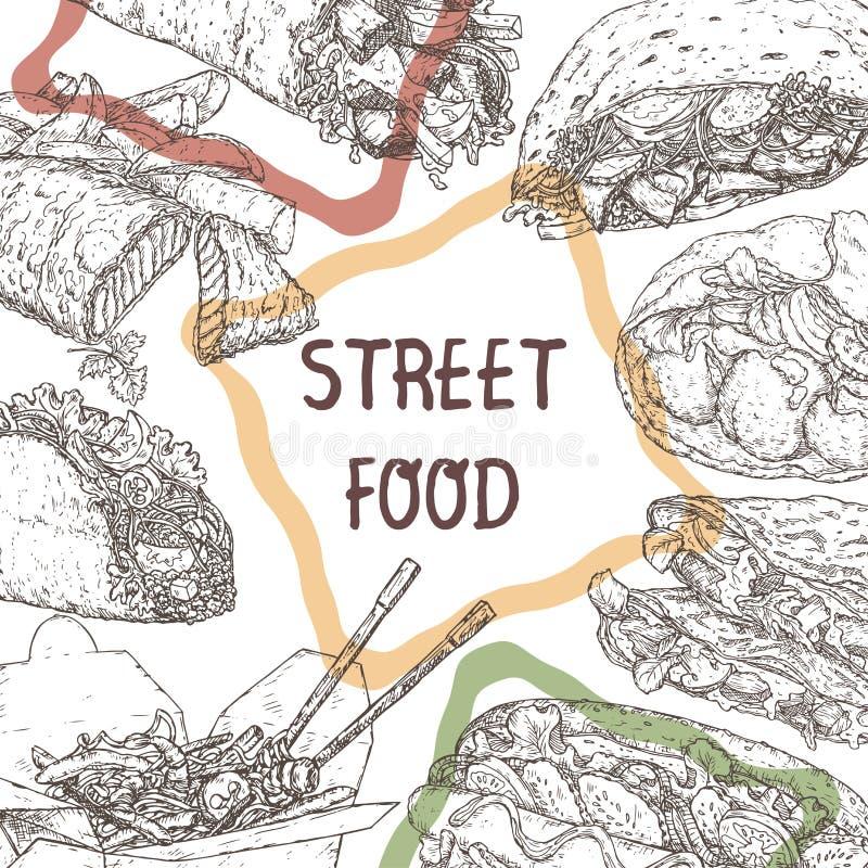 Molde do alimento da rua com esboços de pratos tradicionais ilustração do vetor