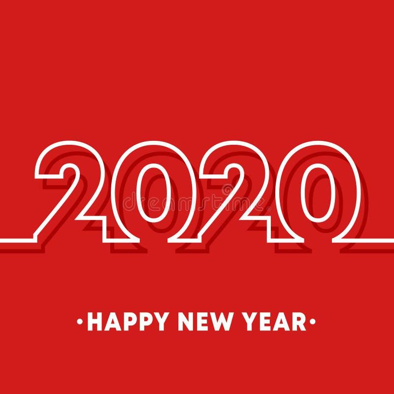 Molde do ano 2020 novo feliz A linha mínima fundo para a tipografia, produtos do projeto da impressão, inseto, folheto cobre ilustração do vetor
