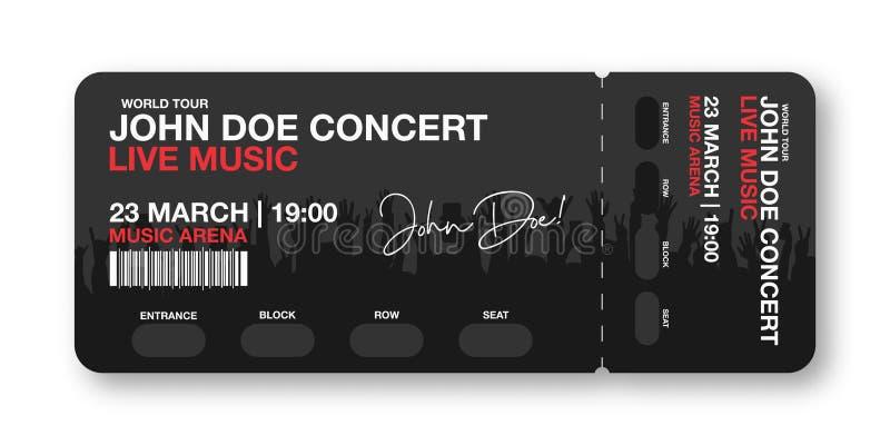 Molde do bilhete do concerto Concerto, partido, disco ou molde do projeto do bilhete do festival com a multidão dos povos no fund ilustração stock