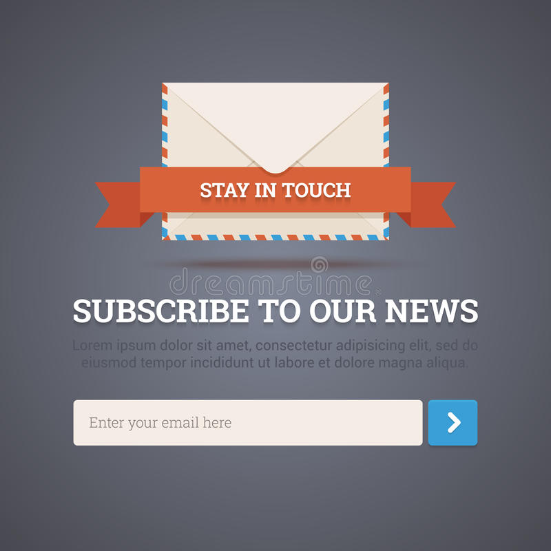 Molde do boletim de notícias - formulário de assinatura. ilustração do vetor