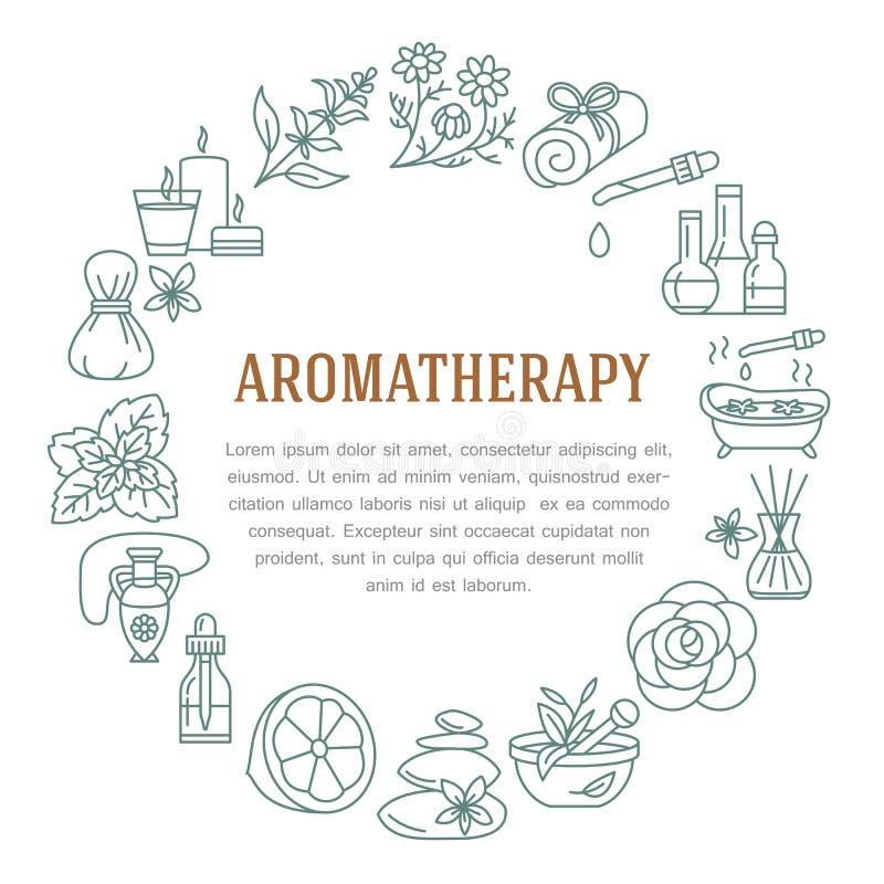Molde do círculo da aromaterapia e dos óleos essenciais Vector a linha ilustração de difusor da aromaterapia, queimador de óleo,  ilustração stock