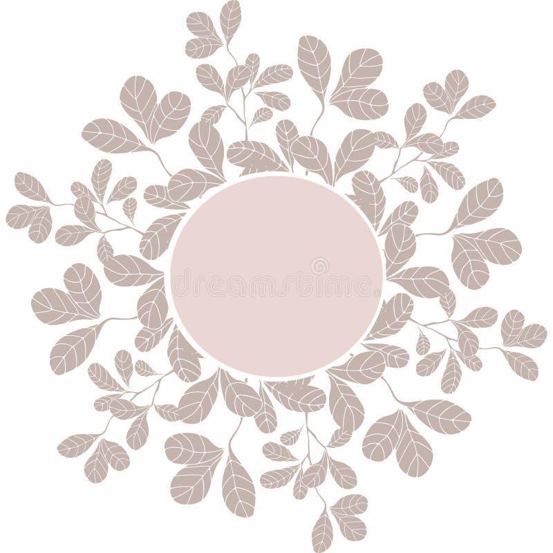 Molde do círculo da decoração com elementos florais ilustração royalty free
