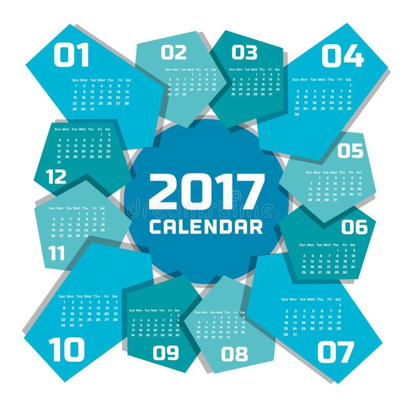 Molde 2017 do calendário ilustração royalty free