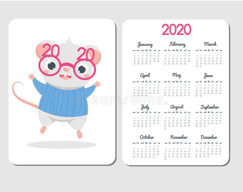 molde 2020 do calendário com rato dos desenhos animados Projeto chinês do ano novo com caráter engraçado do rato nos monóculos