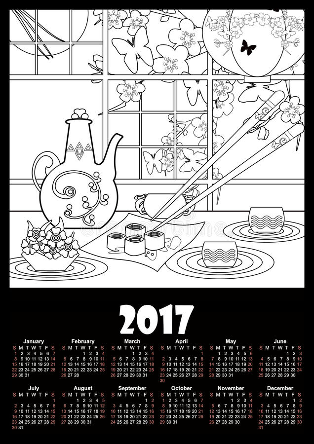 Molde 2017 do calendário com sushi e flores Página da coloração ilustração stock