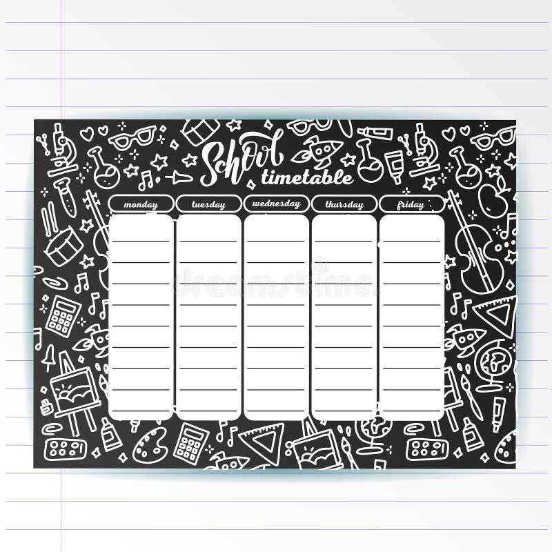 Molde do calendário da escola na placa de giz com símbolos escritos mão do texto do giz e do mar da aventura Shedule semanal das  ilustração stock