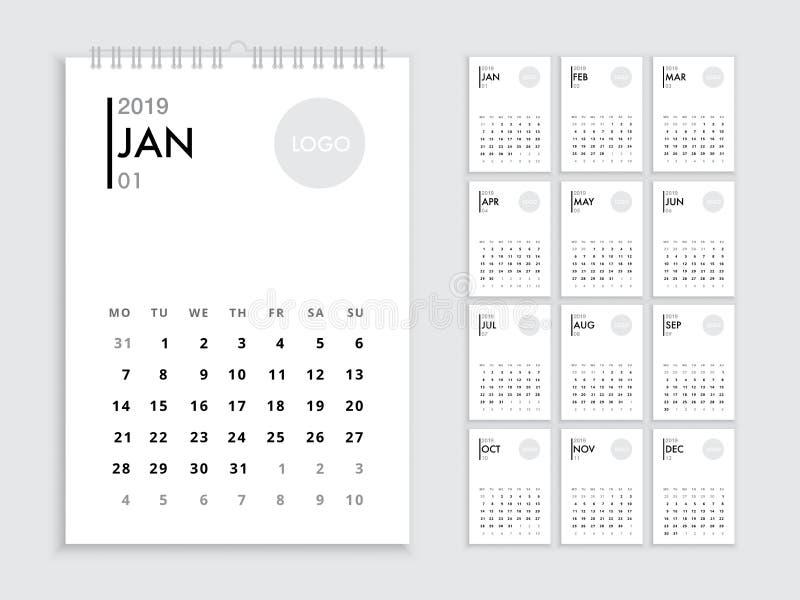 Molde 2019 do calendário de parede ilustração royalty free