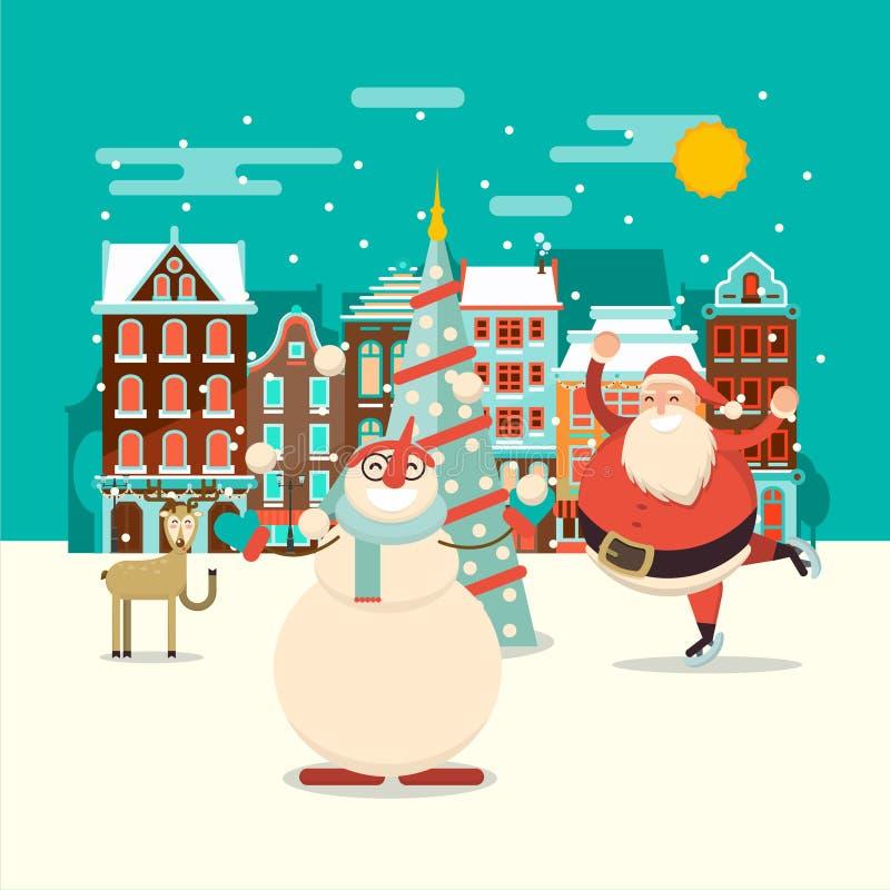 Molde do calendário do advento do Natal La do cartão do xmas do vetor ilustração royalty free