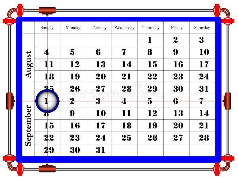 Molde do calendário para setembro de 2019 no estilo mínimo limpo A semana come?a domingo ilustração royalty free