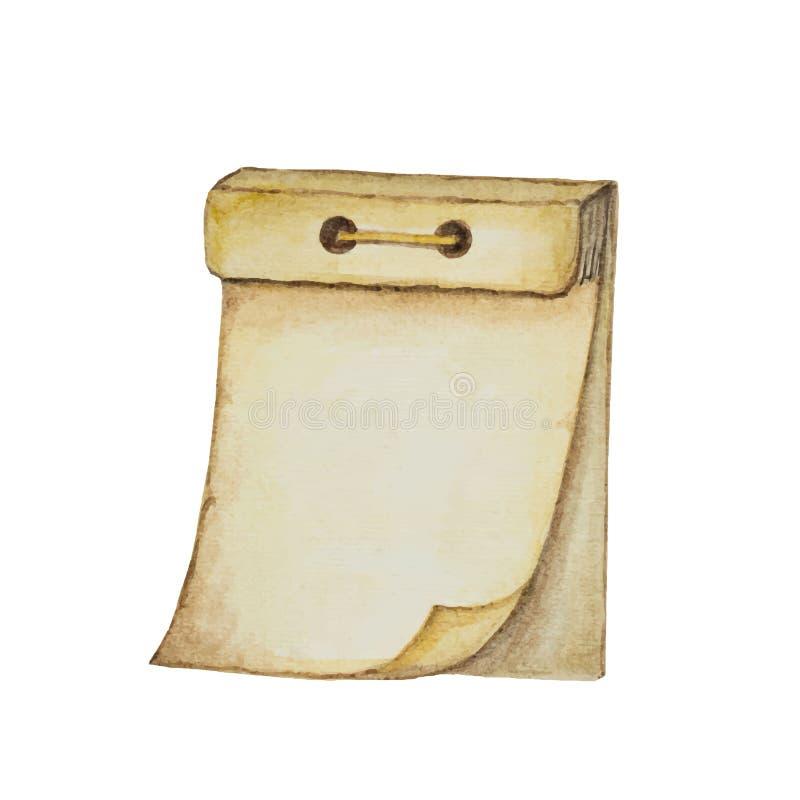 Molde do calendário do vetor da aquarela com as páginas vazias isoladas no fundo branco ilustração royalty free