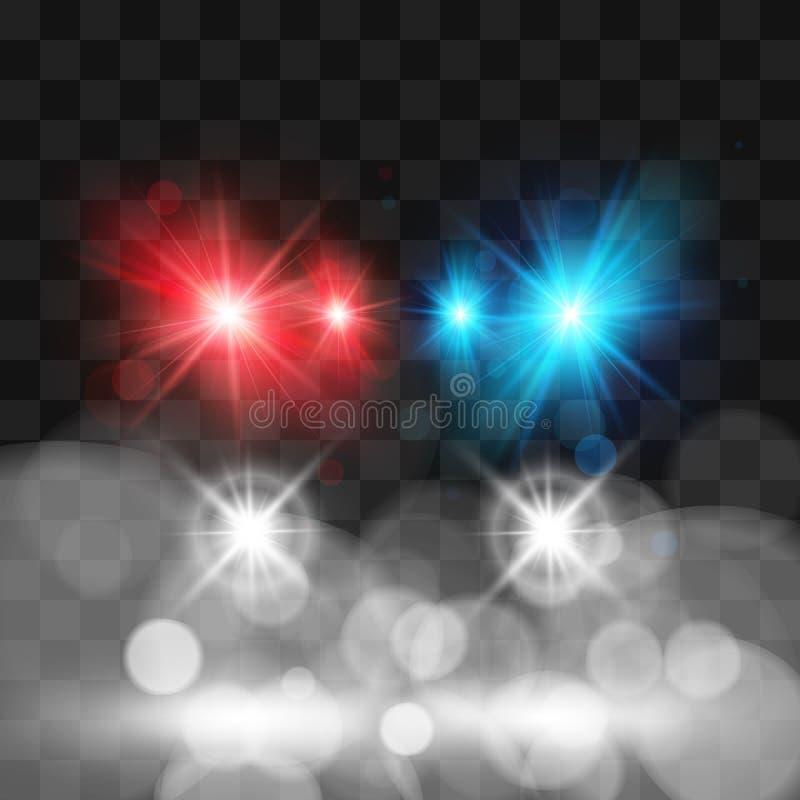 Molde do carro de polícia da sirene Faróis e cores vermelhas e azuis do pisca-pisca Ilustra??o do vetor isolada no fundo transpar ilustração royalty free