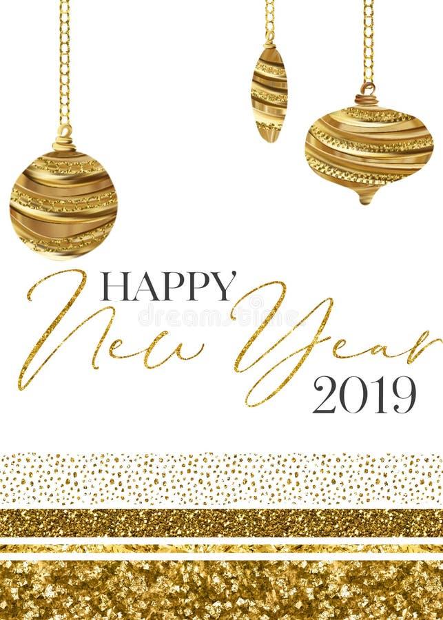 Molde do cartão do ano novo feliz 2019 do ornamento do ouro ilustração stock