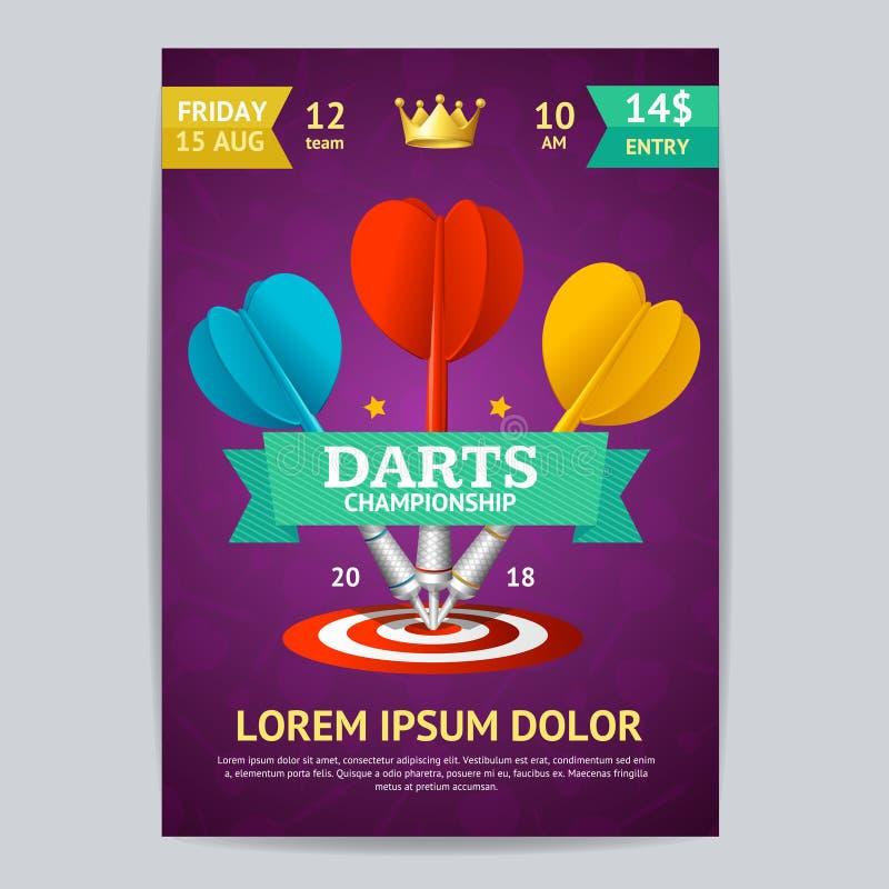 Molde do cartão do cartaz do competiam dos dardos Vetor ilustração do vetor