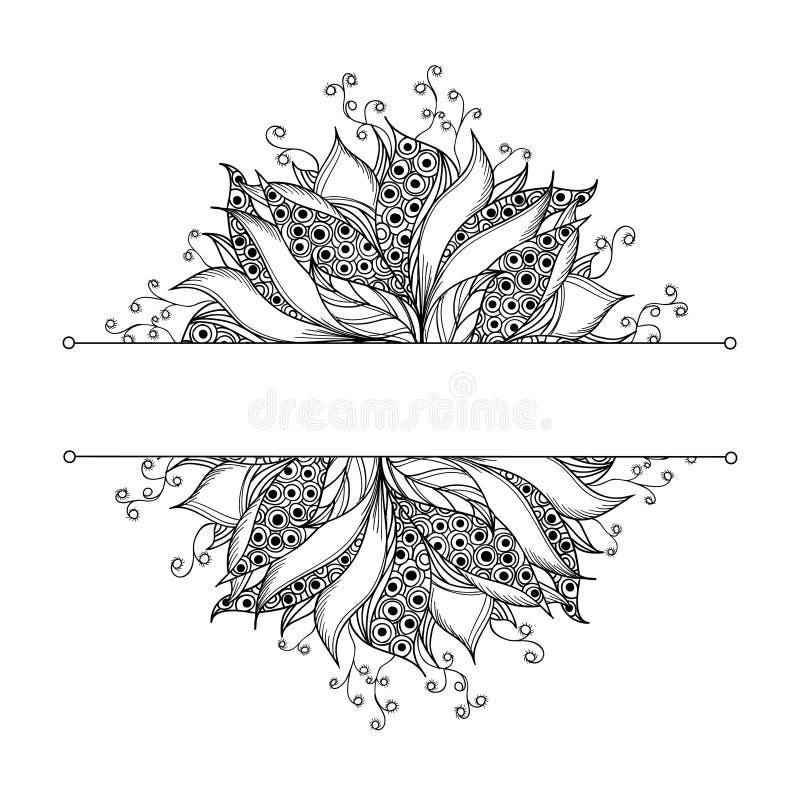 Molde do cartão com a flor preto e branco da fantasia ilustração do vetor