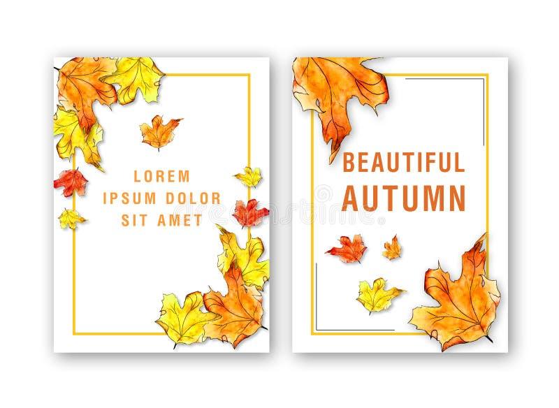 Molde do cartão com a folha de bordo do outono da aquarela ilustração stock