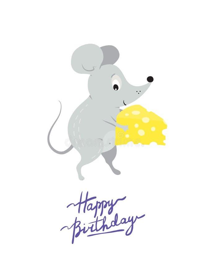 Molde do cartão com o rato engraçado bonito ou o rato com queijo atual ilustração stock