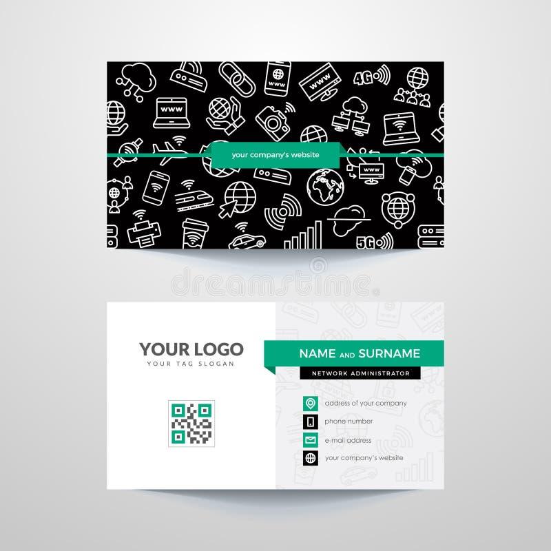 Molde do cartão com símbolos do Internet e do Wi-Fi ilustração royalty free