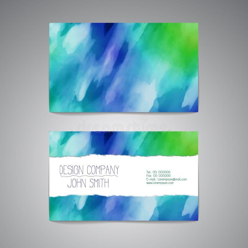 Molde do cartão com um projeto elegante da aquarela ilustração do vetor
