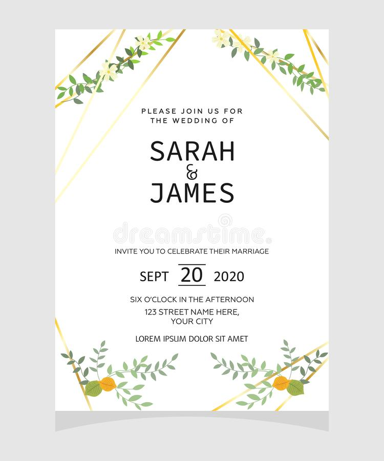 Molde do cartão do convite do casamento com fundo floral da flor da cor de cobre Convite do casamento Excepto a tâmara Vetor Illu ilustração stock