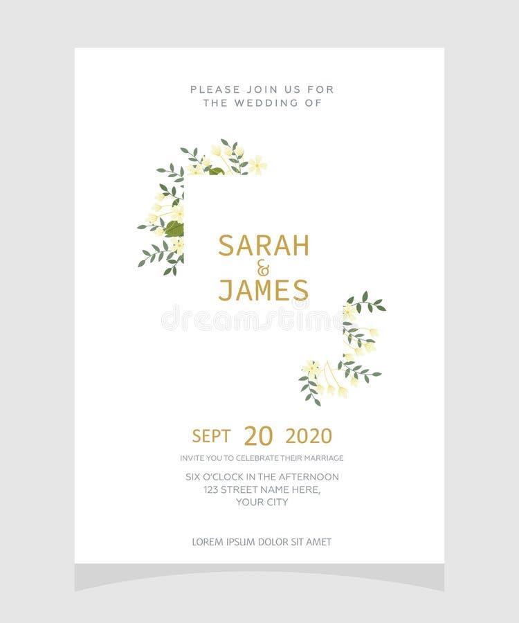 Molde do cartão do convite do casamento com fundo floral da flor da cor de cobre Convite do casamento Excepto a tâmara Vetor Illu ilustração royalty free