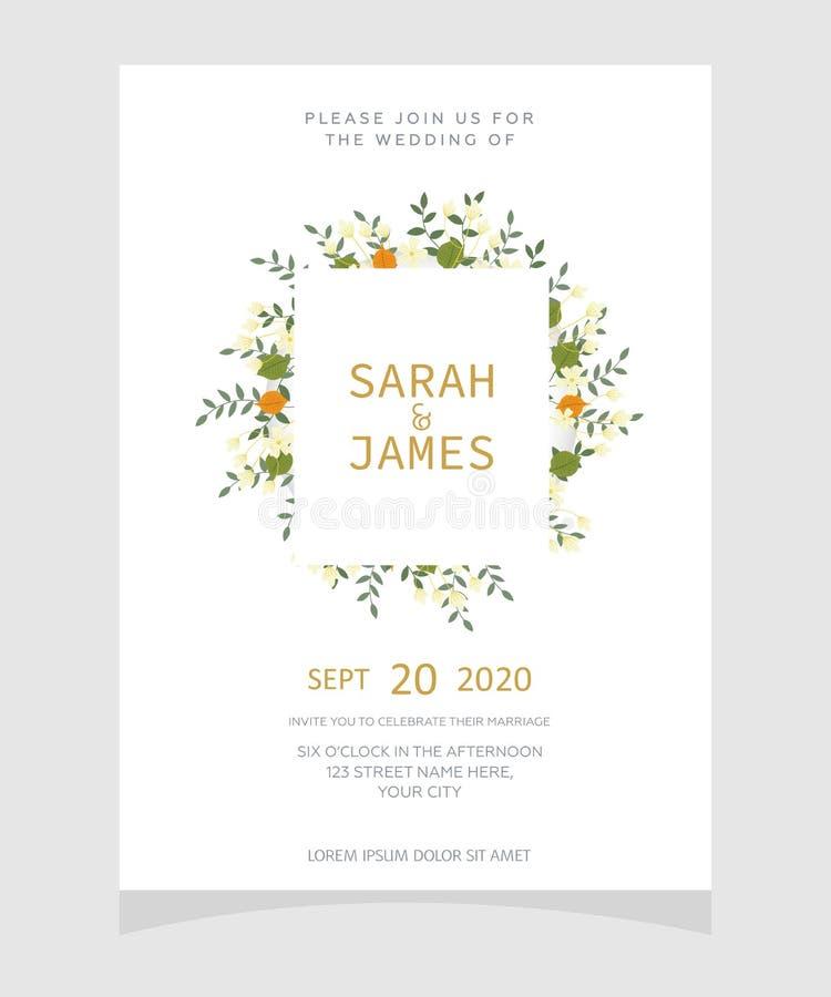 Molde do cartão do convite do casamento com fundo floral da flor da cor de cobre Convite do casamento Excepto a tâmara Vetor Illu ilustração do vetor