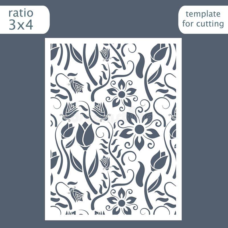 Molde do cartão do convite do casamento do corte do laser Corte o cartão de papel com teste padrão floral Molde do cartão para co ilustração royalty free