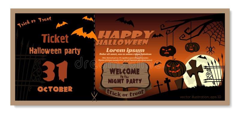Molde do cartão do convite para o partido da noite de Dia das Bruxas ilustração royalty free