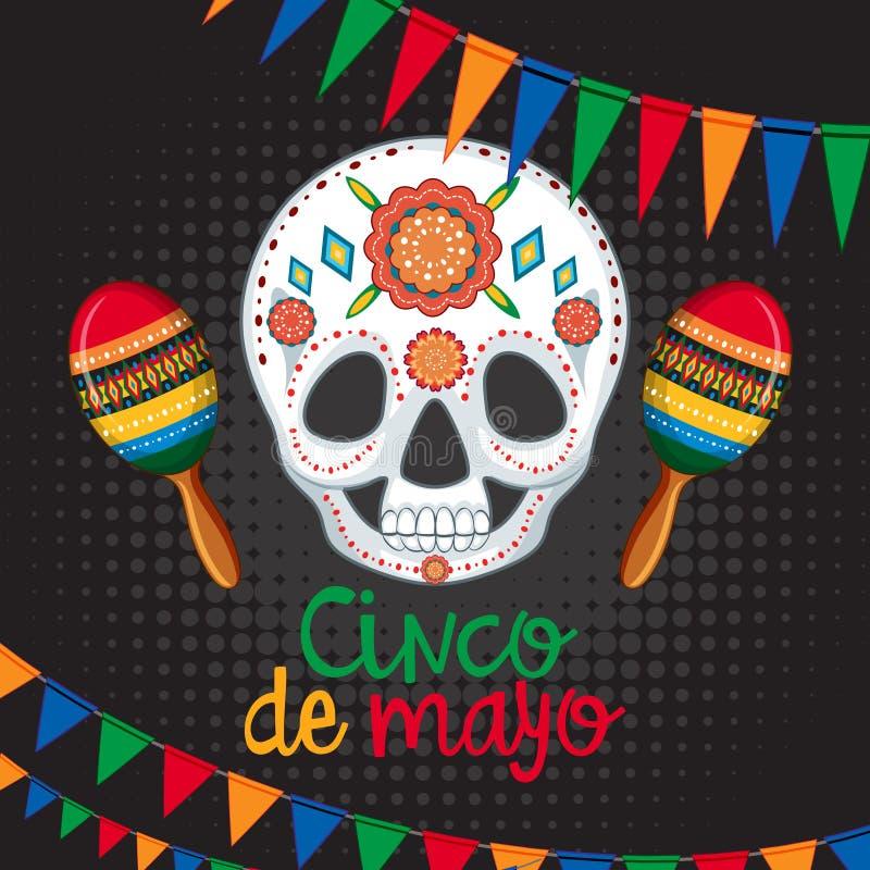 Molde do cartão de Cinco de Mayo com máscara e maracas ilustração royalty free