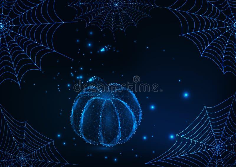 Molde do cartão de Dia das Bruxas com Web de aranha de incandescência e baixa abóbora poli em escuro - fundo azul ilustração royalty free